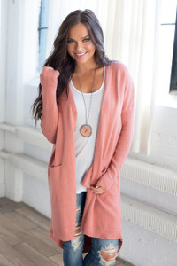 Button Down Long Pocket Cardigan - Peach Rose