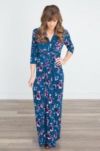 Delilah Floral Maxi Dress - Teal/Purple - FINAL SALE