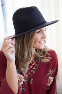 Stiff Brim Fedora Hat - Black - FINAL SALE