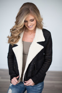 Shearling Accent Knit Jacket - Black - FINAL SALE