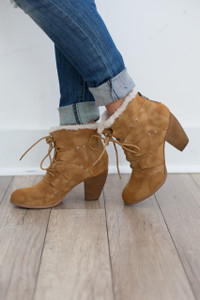 Not Rated: Primrose Lace Up Bootie - Tan - FINAL SALE