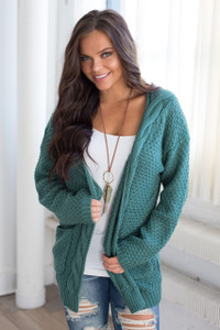 Cable Knit Pocket Cardigan - Emerald