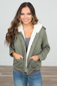 Shearling Lined Hooded Jacket - Olive