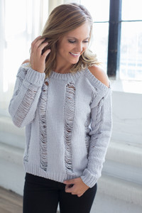 Luxe Cold Shoulder Sweater - Cool Grey