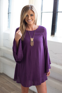 Bell Sleeve Solid Tunic Dress - Purple