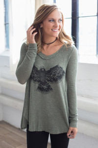 Spread Your Wings Thermal Top - Olive