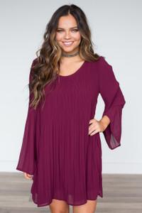 Lost Lover Pleated Dress - Wine - FINAL SALE