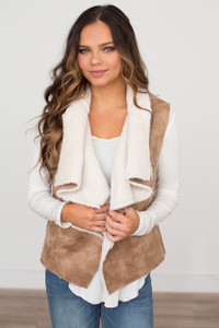 Faux Leather Fur Trim Vest - Tan - FINAL SALE