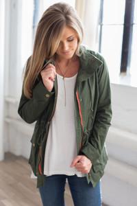 Drawstring Hooded Jacket - Olive - FINAL SALE