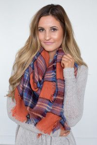Plaid Blanket Scarf - Orange/Blue