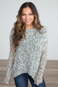 Crochet Knit High Low Sweater - Black/White - FINAL SALE