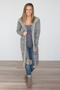 Printed Long Hooded Cardigan - Charcoal/Taupe