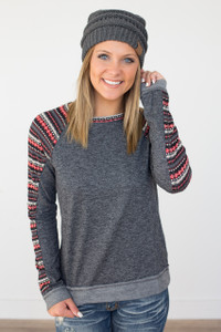Printed Sleeve Raglan Top - Charcoal/Red