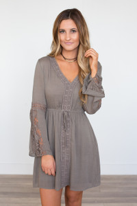 Lace Bell Sleeve Dress - Mocha