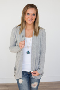 Draped Back Open Front Cardigan - Grey