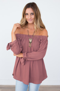 Off The Shoulder Tie Sleeve Top - Brick