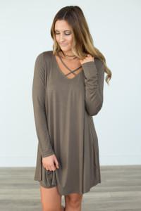 V Neck Strap Long Sleeve Dress - Olive