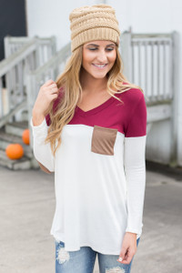 Color Block Tunic With Elbow Patch - Wine/White