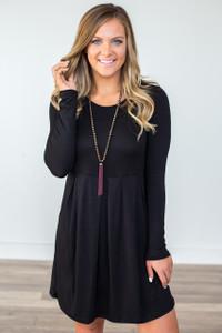 Long Sleeve Empire Waist Dress - Black