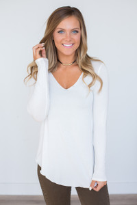 Round Hem Long Sleeve Tee - Off White - FINAL SALE