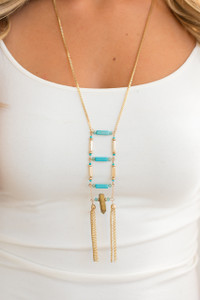 Caged Turquoise Tassel Necklace - Gold/Turquoise - FINAL SALE