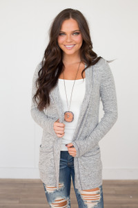 Open Front Pocket Cardigan - Heather Grey