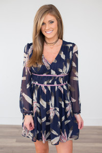 Wild Feather V Neck Dress - Navy - FINAL SALE