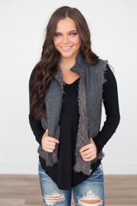 Reversible Faux Fur Tweed Vest - Charcoal