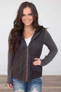 Sweater Sleeve Cargo Jacket - Charcoal - FINAL SALE