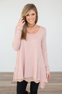 Long Sleeve Layered Flare Tunic - Rose