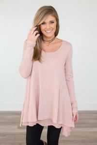 Long Sleeve Layered Flare Tunic - Rose - FINAL SALE