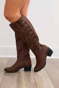 Not Rated: Devlin Buckled Boot - Brown - FINAL SALE