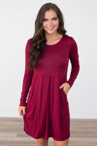 Long Sleeve Empire Waist Dress - Burgundy