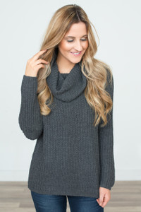 Cowl Neck Sweater - Charcoal - FINAL SALE