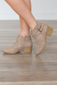 Double Buckle Bootie - Taupe - FINAL SALE