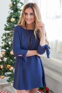 Tie Sleeve Shift Dress - Midnight Blue - FINAL SALE