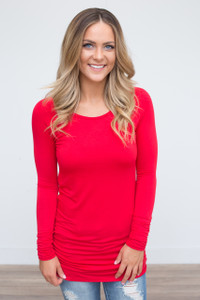 Long Sleeve Ruched Knit Tunic - Red - FINAL SALE