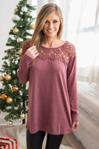 Long Sleeve Lace Top Tunic - Wine