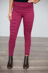 High Waisted Distressed Leggings - Wine - FINAL SALE