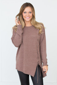 Lace Up Tunic Sweater - Brown