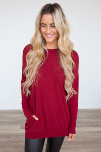 Cozy Knit Pocket Tunic - Crimson