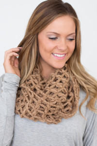 Lattice Knit Infinity Scarf - Taupe - FINAL SALE