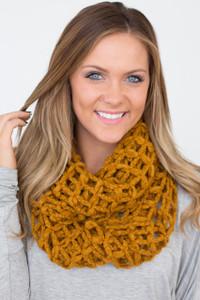 Lattice Knit Infinity Scarf - Mustard - FINAL SALE