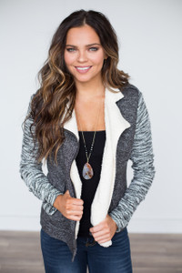 Knit Zip Up Jacket - Charcoal - FINAL SALE