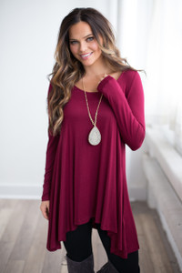 Long Sleeve Asymmetrical Tunic - Burgundy