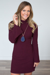 Bell Sleeve Ribbed Dress - Wine - FINAL SALE