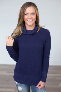 Ribbed Long Sleeve Turtleneck - Navy - FINAL SALE