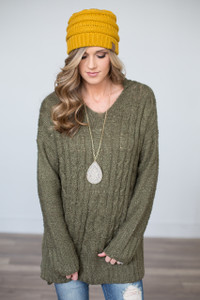 Hooded Cable Knit Sweater - Olive - FINAL SALE