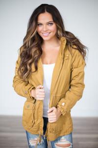 Faux Fur Hooded Cargo Jacket - Mustard