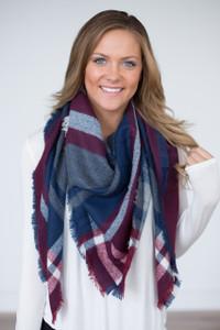 Plaid Blanket Scarf - Navy/Wine/White
